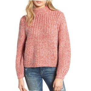 BP. Red Marled Puff Sleeve Sweater